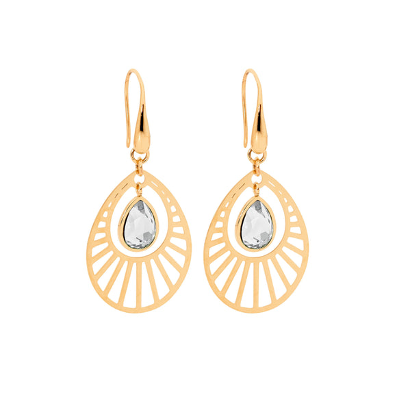 Ellani Rose Steel Clear Glass Drop Earrings