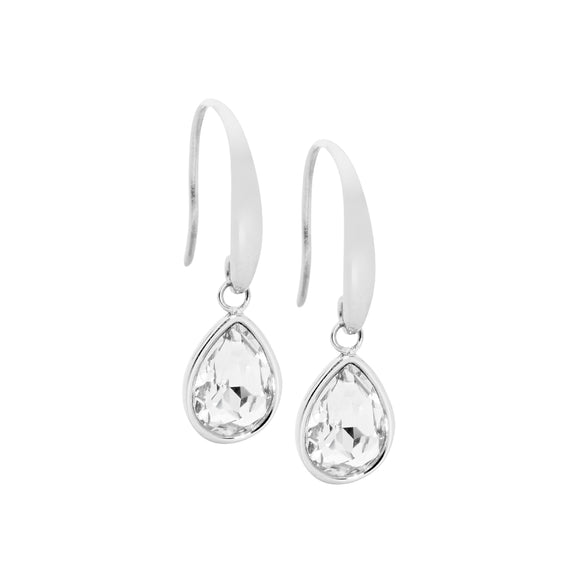 Ellani Steel Clear Teardrop Earrings
