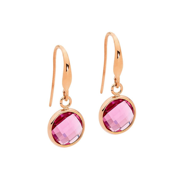 Ellani Rose Steel Pink Drop Earrings