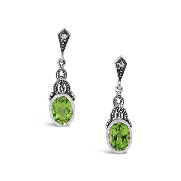 Esse Peridot & Marcasite Drop Earrings