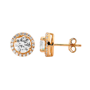Ellani CZ Rose Plated Studs