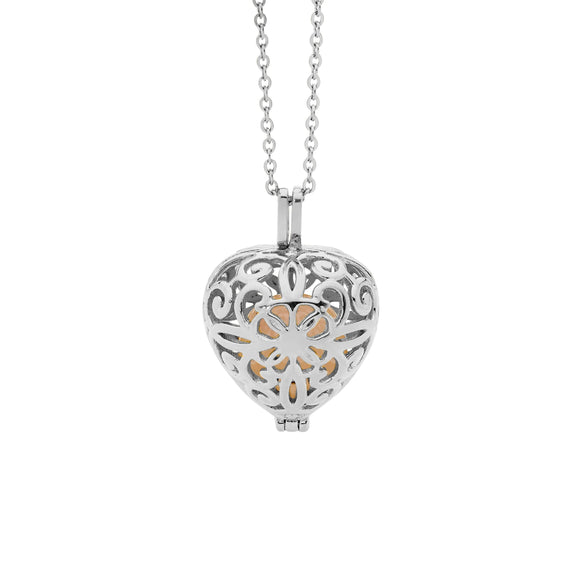 Ellani Steel Filigree Heart Locket Necklace