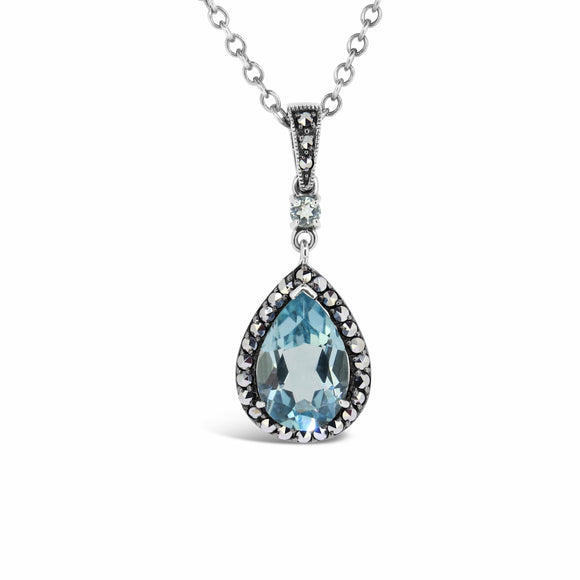 Esse Blue Topaz & Marcasite Pear-shaped  Pendant