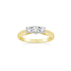 9ct Yellow Gold Diamond Trilogy Ring