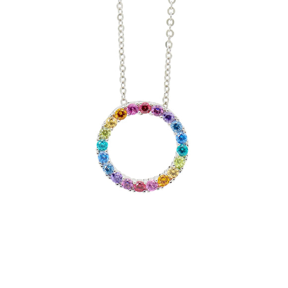 Ellani Multi Coloured CZ Circle Necklace