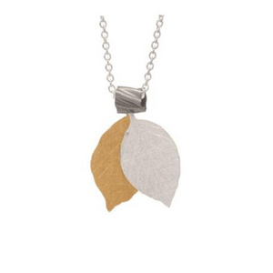 Sterling Silver & Gold Double Leaf Pendant