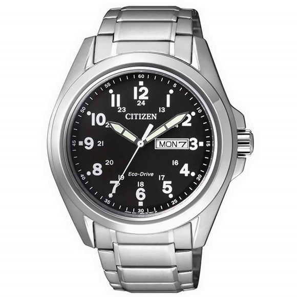 Citizen Eco-Drive Gents Stainless Steel Black Dial
