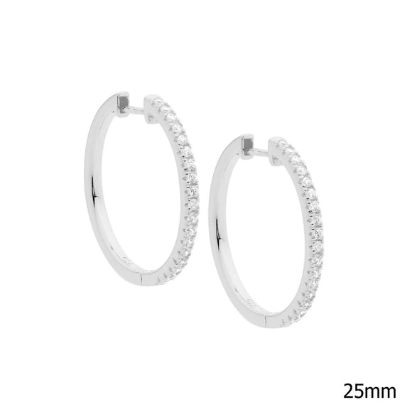 Ellani CZ Silver Hoop Earrings