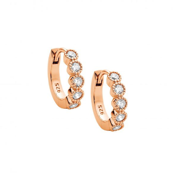 Ellani Rose CZ Huggie Earrings