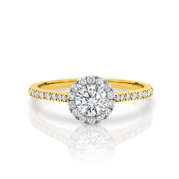 18ct Yellow Gold Diamond Halo Solitaire Ring