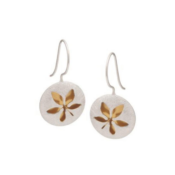 Sterling Silver & Rose Leaf Hook Earrings