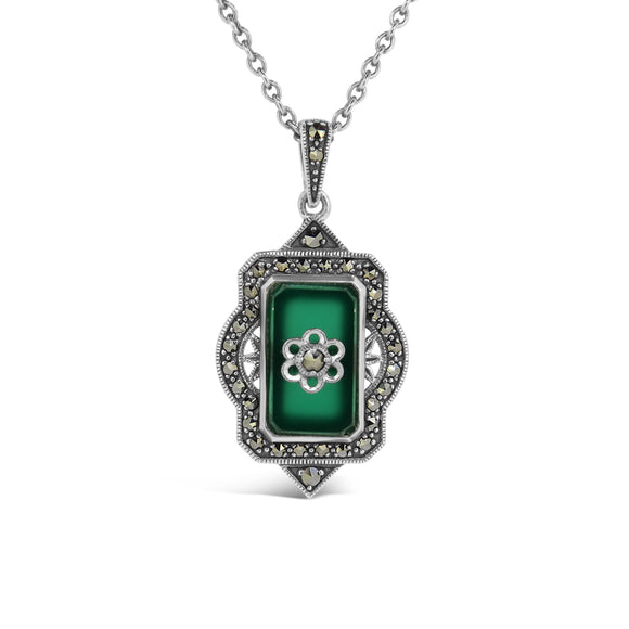 Esse Green Agate and Marcasite Pendant