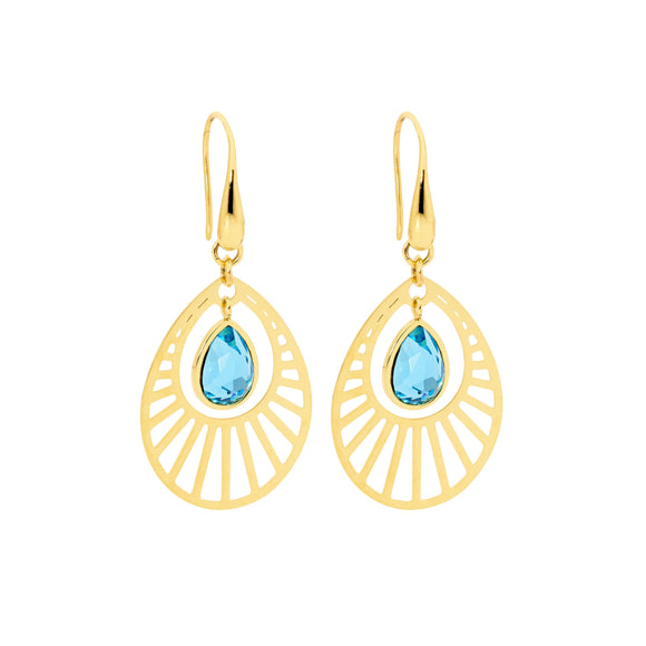 Ellani Gold Steel Sunburst Earrings