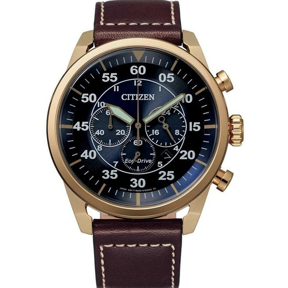 Citizen Eco-Drive Gents Brown Leather Chronograph Watch
