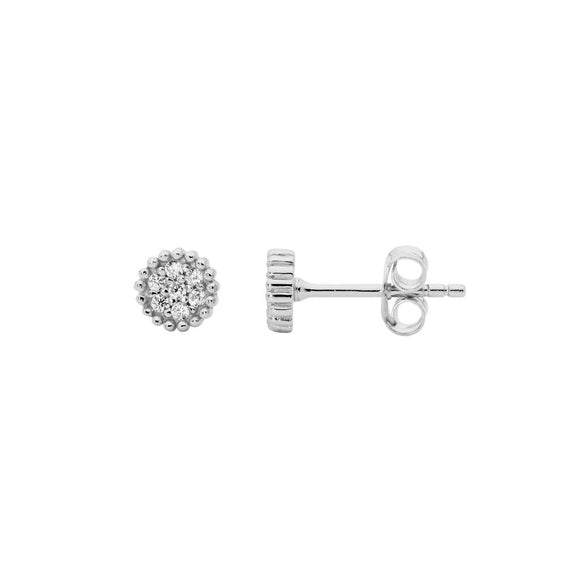 Ellani CZ Silver Cluster Earrings