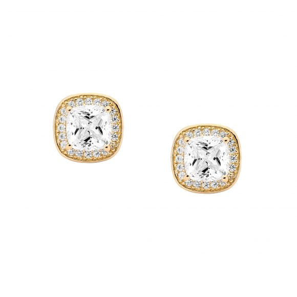 Ellani Silver & Gold Plated CZ Stud Earrings