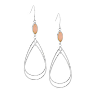 Ellani Steel Pink Tear Drop Earrings