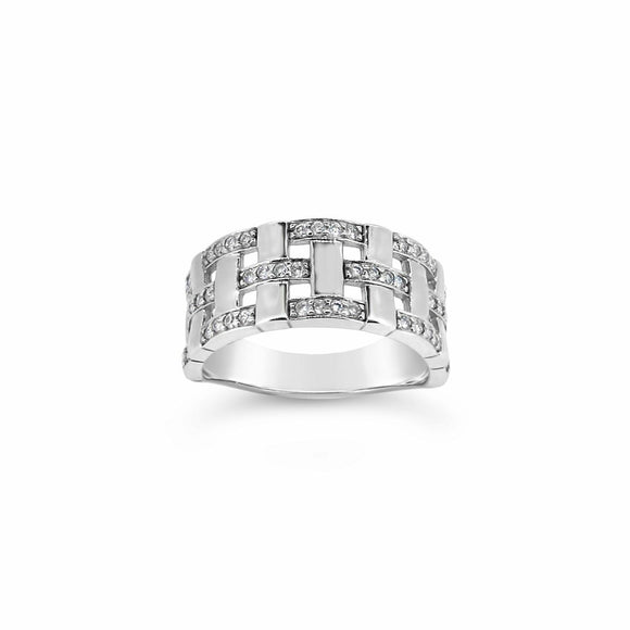 9ct White Gold Weave Pattern Ring