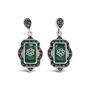 Esse Green Agate and Marcasite Drop Earrings