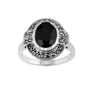 Esse Marcasite and Black Onyx Ring