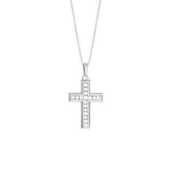 Sterling Silver CZ Cross Pendant