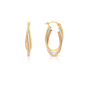 Tri-tone Gold Hoop Earrings