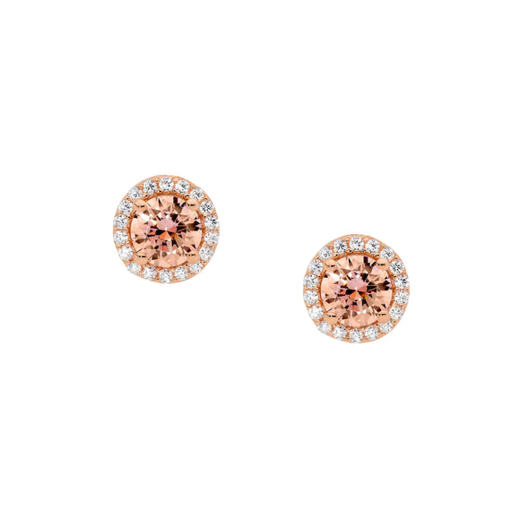 Ellani CZ Rose Plated Halo Earrings