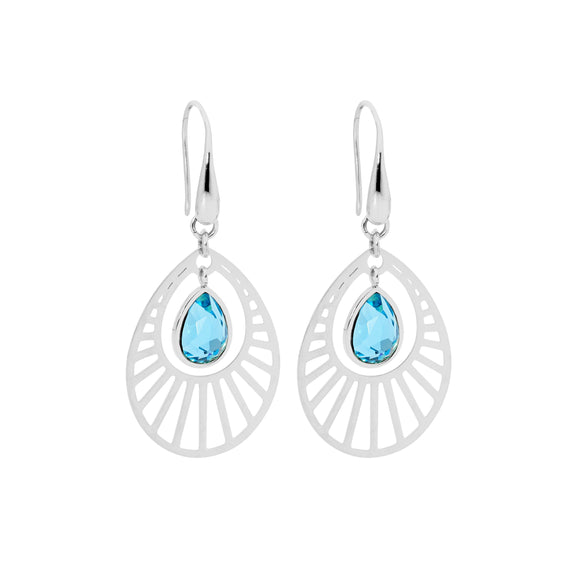 Ellani Steel Sunburst Turquoise Drop Earrings