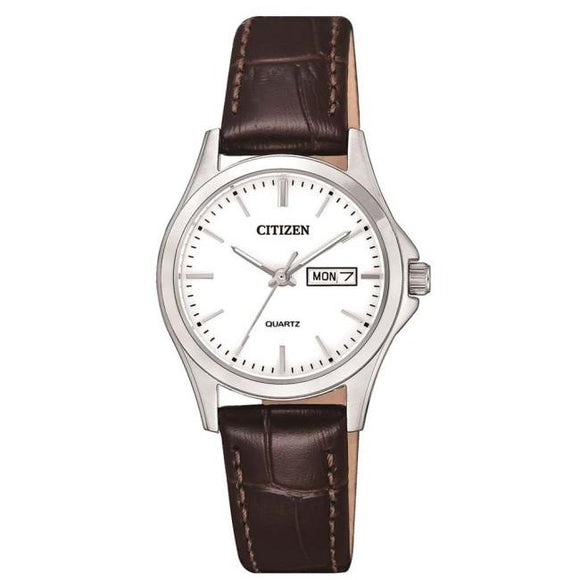 Citizen Ladies Stainless Steel With Brown Leather