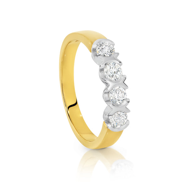 9ct Yellow Gold Diamond 4 Stone Ring
