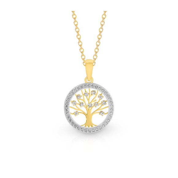 9ct Two Tone Tree Of Life Pendant