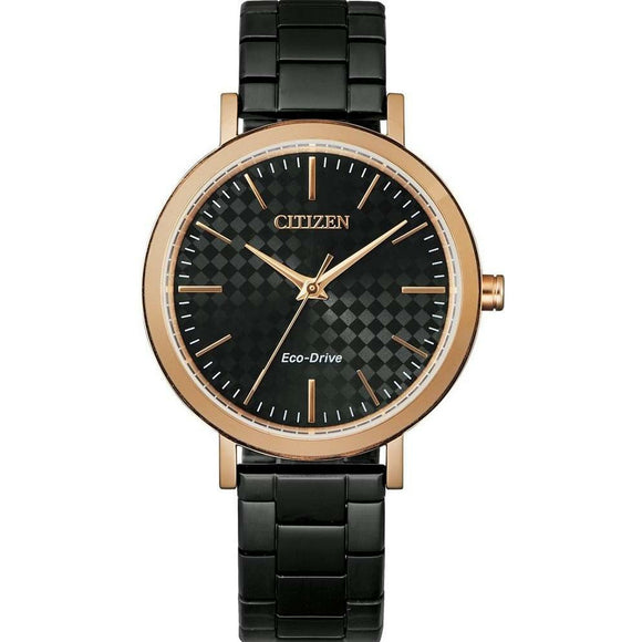 Citizen Eco-Drive Ladies Black Watch with Rose Accents