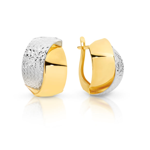 Two-tone Gold Semi-Hoop Earrings