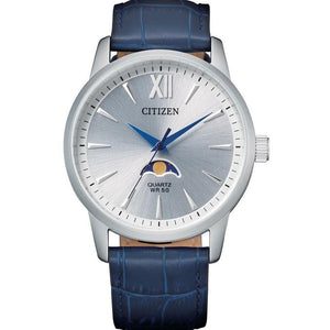 Citizen Gents Stainless Steel Watch with Navy Leather Strap