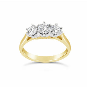 18ct Yellow Gold Diamond Trilogy Ring