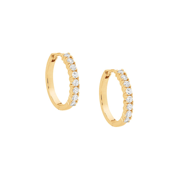 Ellani CZ Gold Plated Huggie Earrings