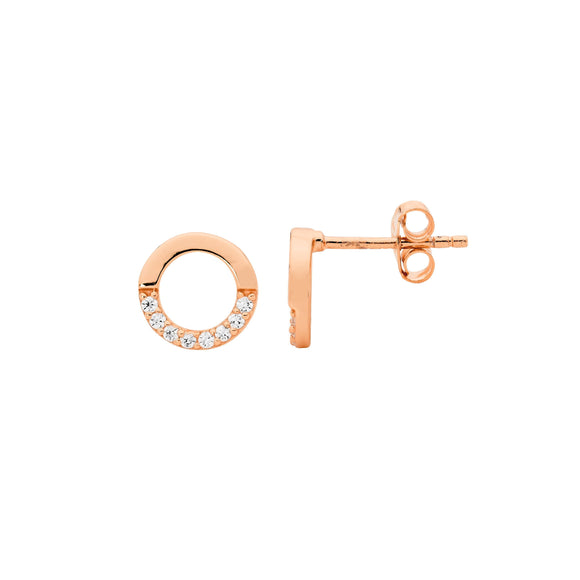 Ellani CZ Rose Plated Open Circle Earrings