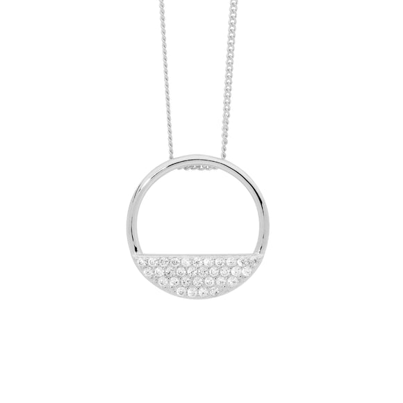 Ellani CZ Silver Half Open Circle Necklace