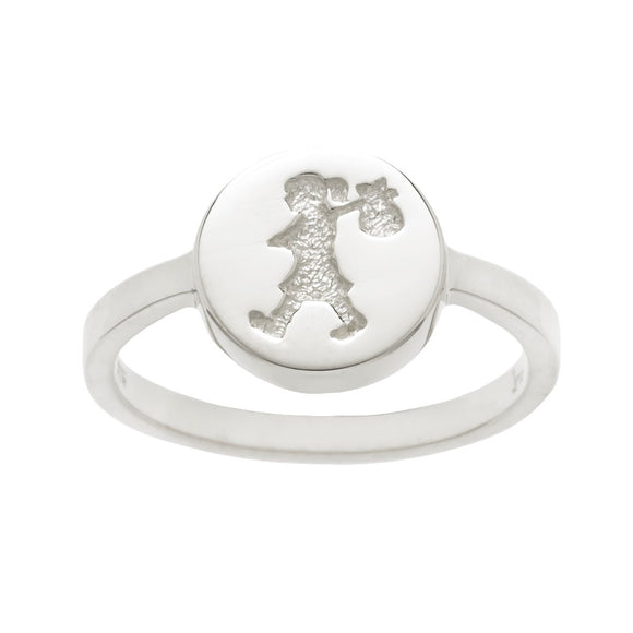 Karen Walker Runaway Girl Stamp Ring Silver