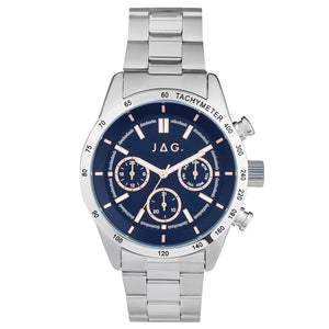 JAG Alain Silver Watch with Navy and Rose Dial