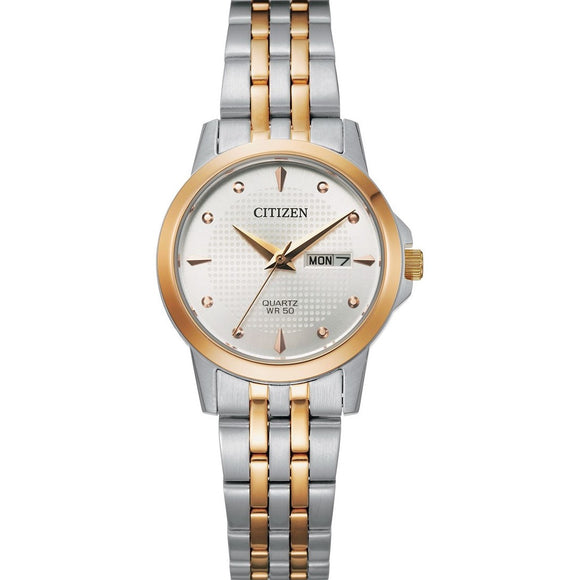 Citizen Ladies Stainless Steel Watch with Rose Accents