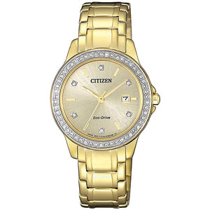 Citizen Ladies Gold Crystal Set Eco-Drive