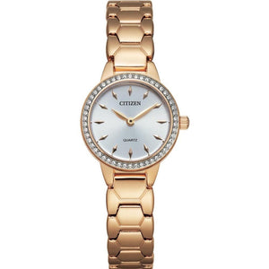Citizen Ladies Rose Gold Watch with Crystal Bezel