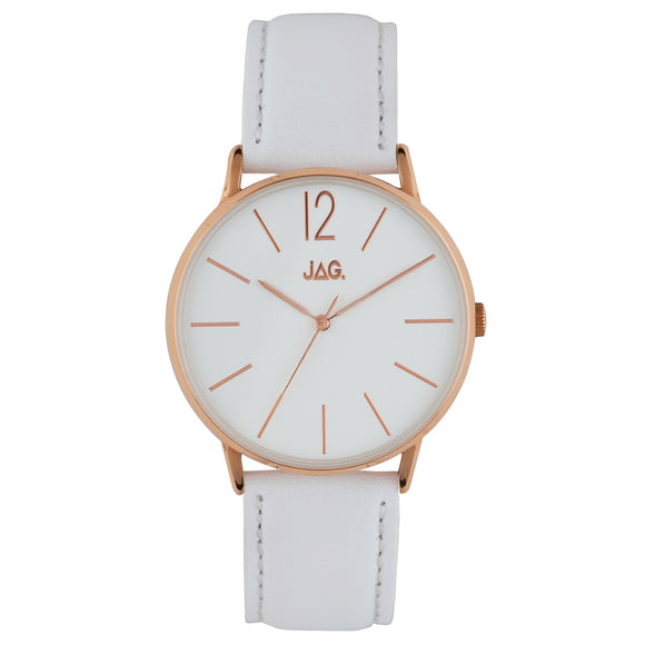 JAG Billy Watch Rose with White Dial & Leather Strap