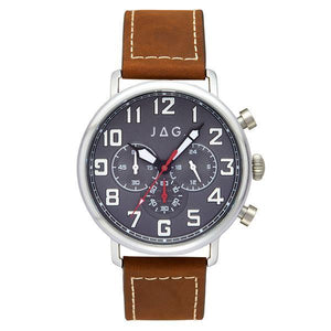 JAG Homer Watch Grey Steel Dial with Mocha Leather Strap