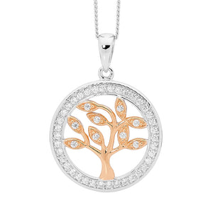 Ellani Silver And Rose Tree of Life Pendant