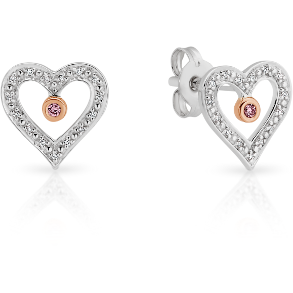 Pink Caviar Diamond Heart Stud Earrings