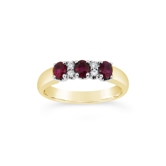 9ct Yellow Gold Ruby & Diamond Anniversary Ring