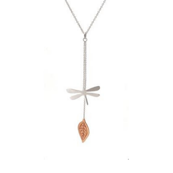 Sterling Silver & Rose Dragonfly Necklace