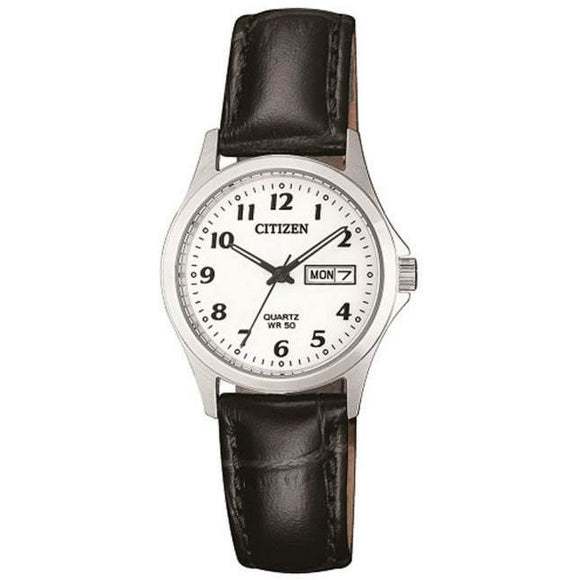 Citizen Ladies Full Numbered Dial Black Leather